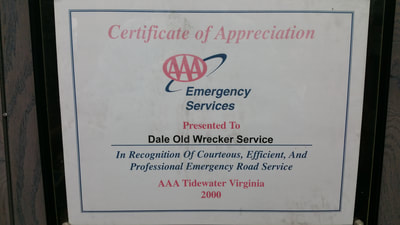 picture of triple a, AAA emergency services certificate of appreciation in recognition of courteous, efficient, and professional emergency road services for dale old tow truck company